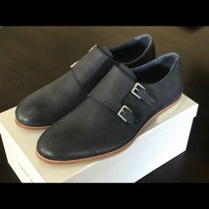 Calvin Klein DBL Monk Leather Shoes Sz 9.0 NAVY !!